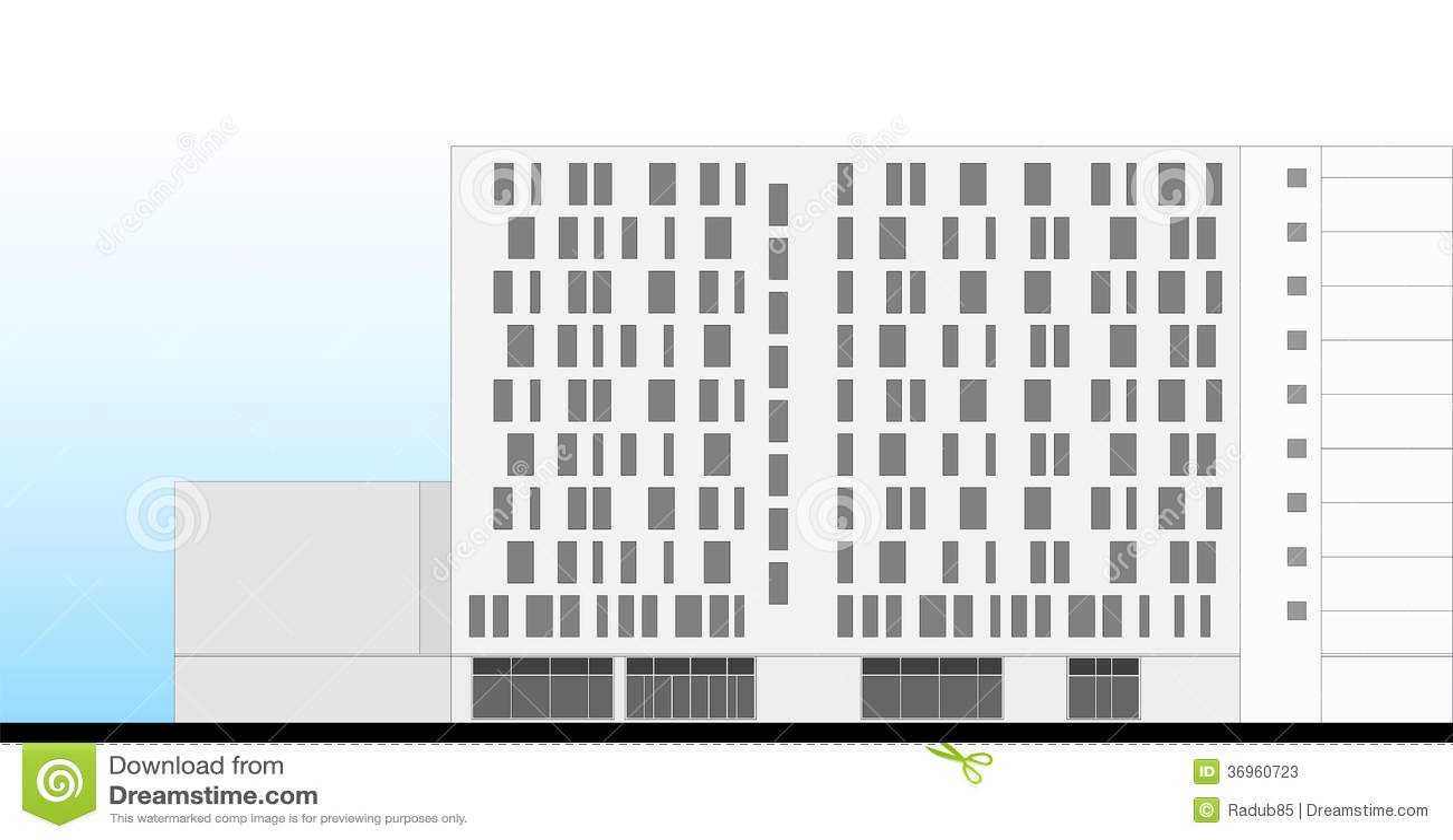 Fassade modern hotel  Hotel-Gebäude-Fassaden-Architekturplan Stockfotos - Bild: 36960723