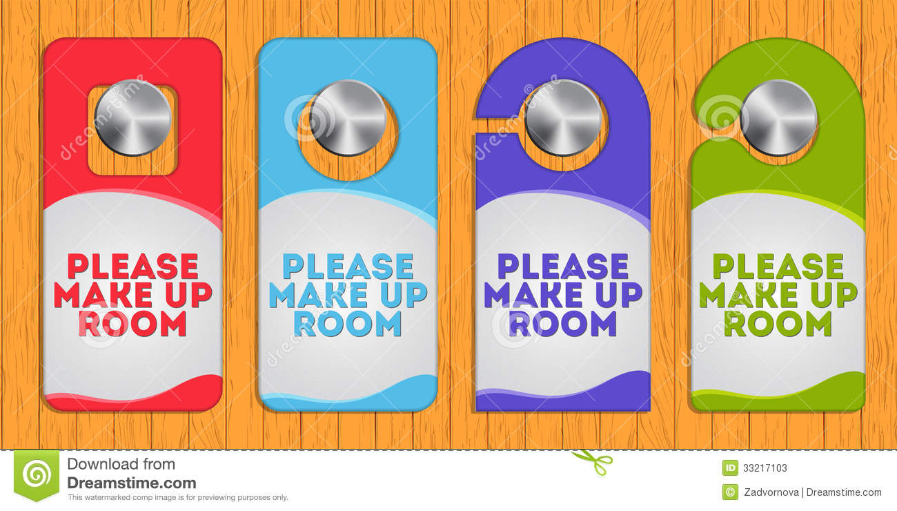 Hotel hanger sign make up the room stock vector image for The make room
