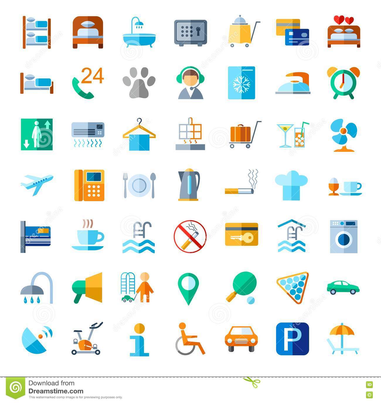 Hotel Services Vector Icons 1 Stock Photo Cartoondealer
