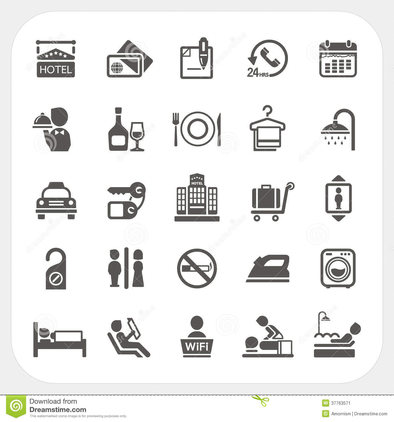 Bed Bath Credit Card Hotel And Hotel Services Icons Set Stock Vector
