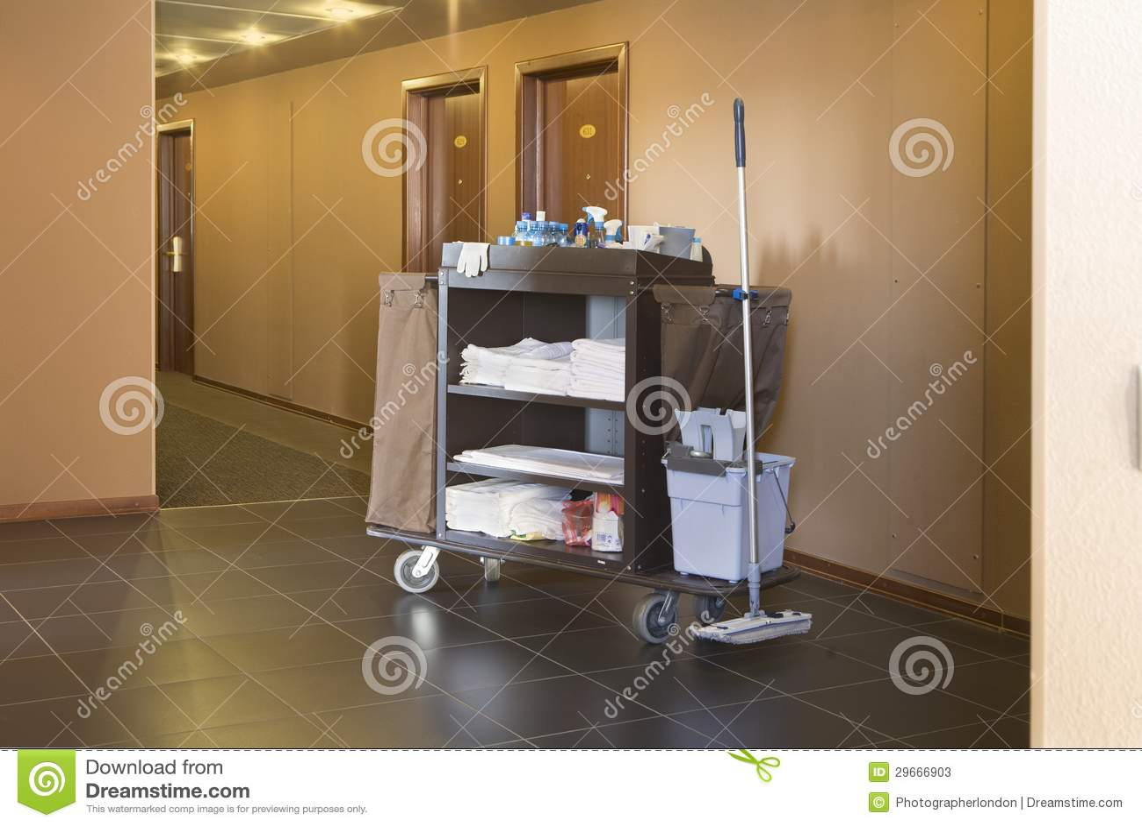 hotel housekeeping cart stock image image of passage. Black Bedroom Furniture Sets. Home Design Ideas