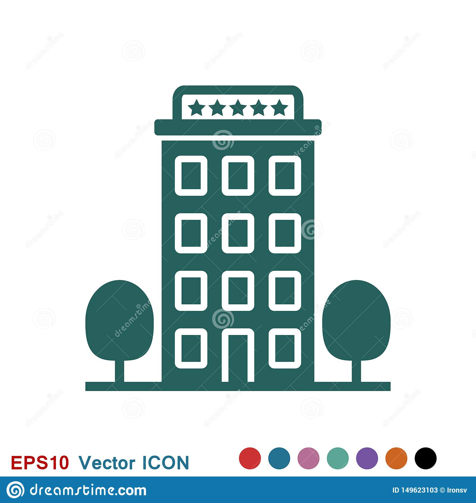 Hotel icon logo, illustration, vector sign symbol for design