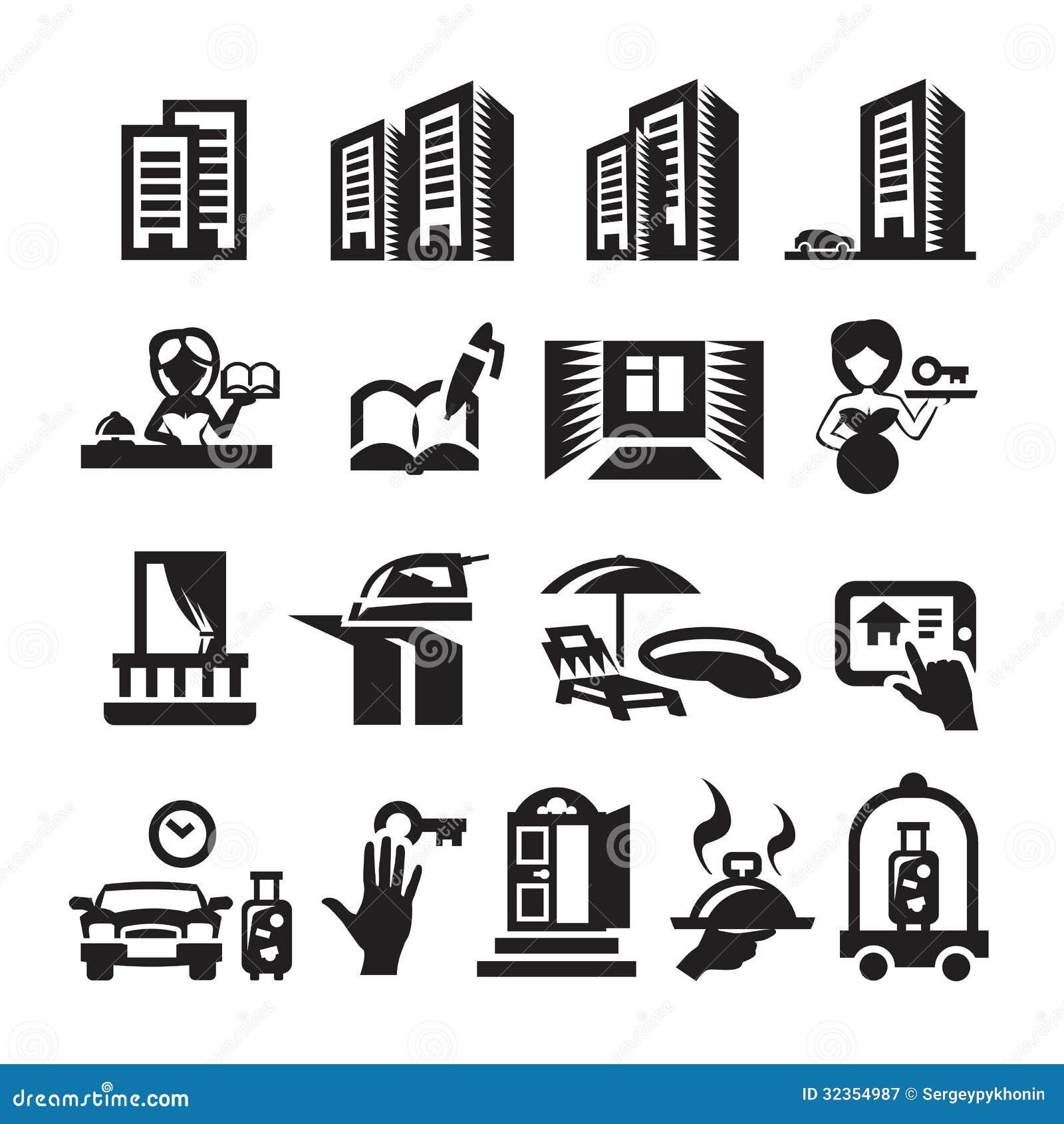 Hotel icons stock vector. Illustration of balcony, door ...