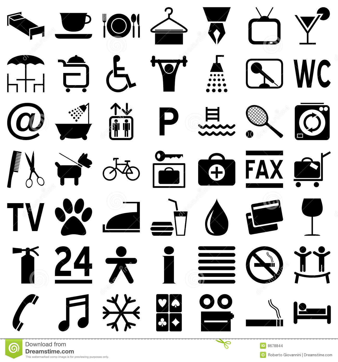 Hotel icons black on white stock images image 8678844 - Simbolos con significado ...