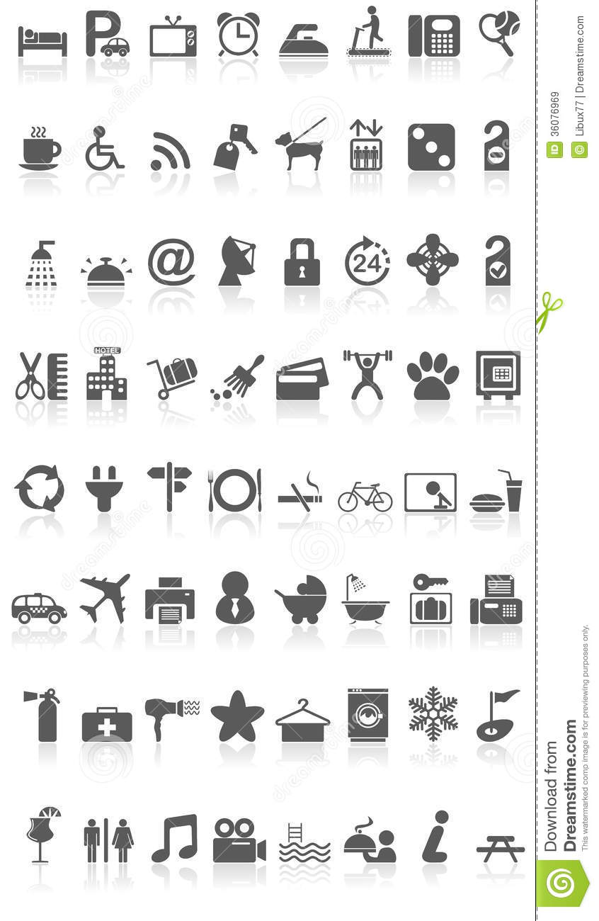 Hotel Icons Collection Black On White Royalty Free Stock