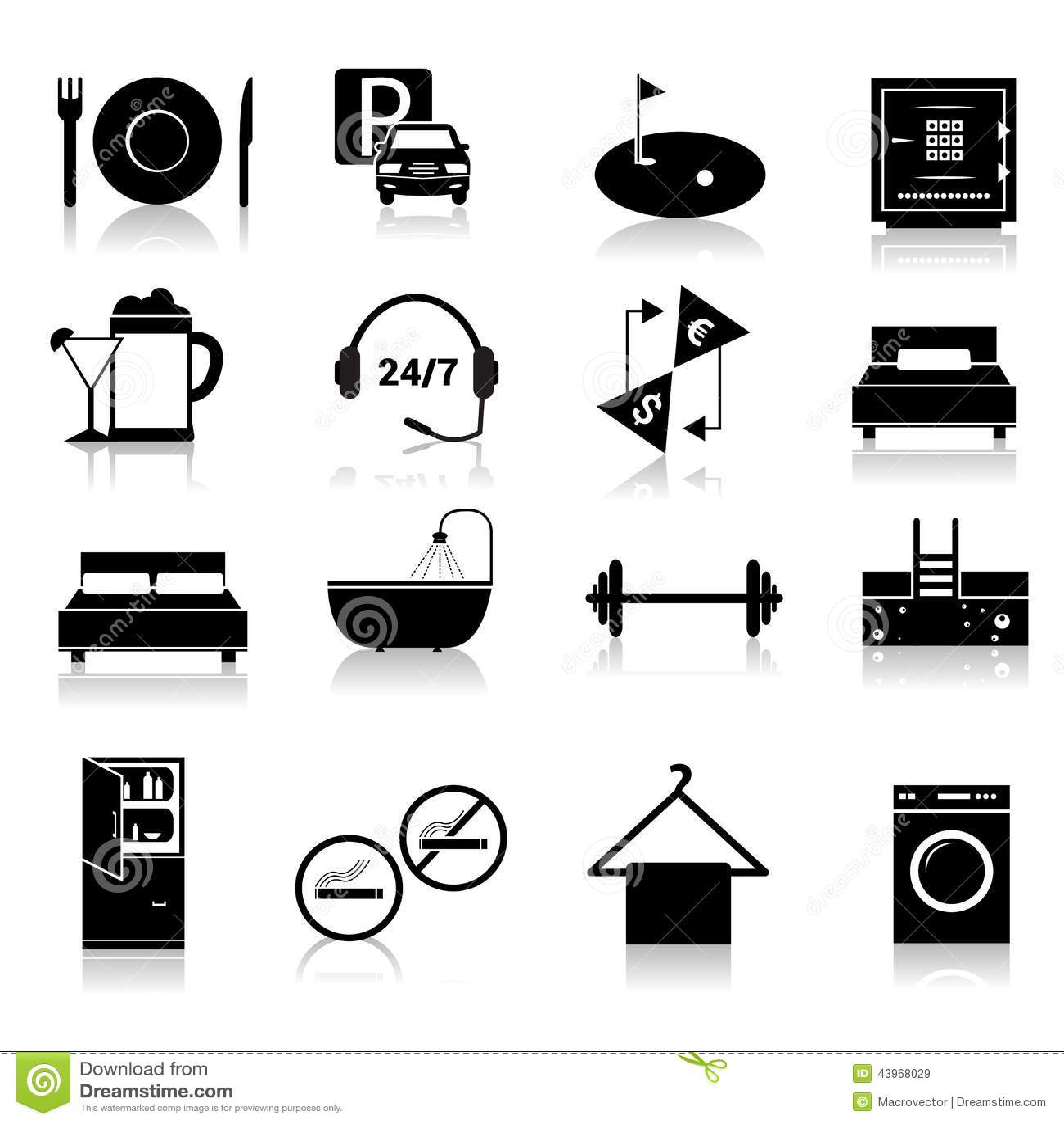 Hotel icons set black stock vector image