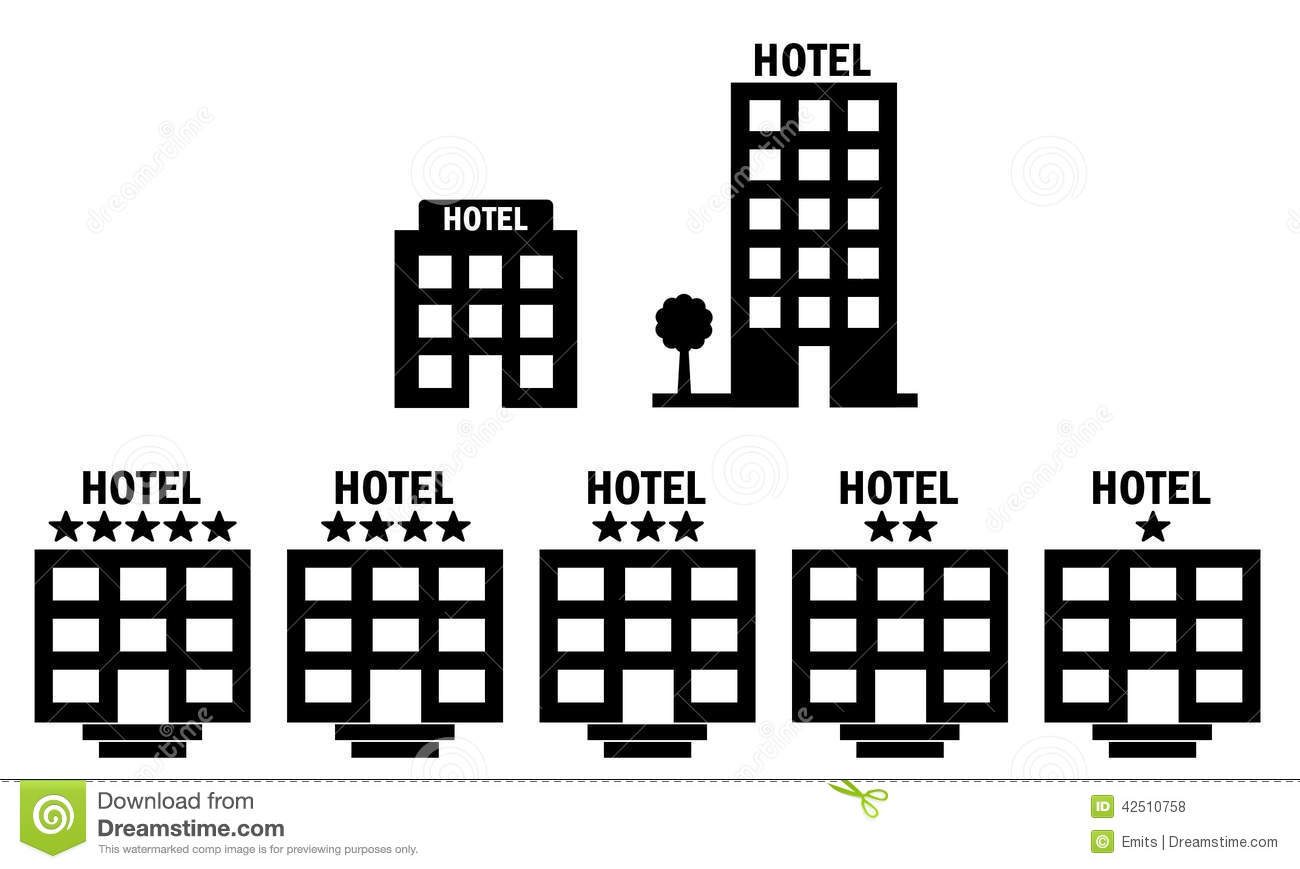 Set of 7 hotel icons including multistory and star rating hotels