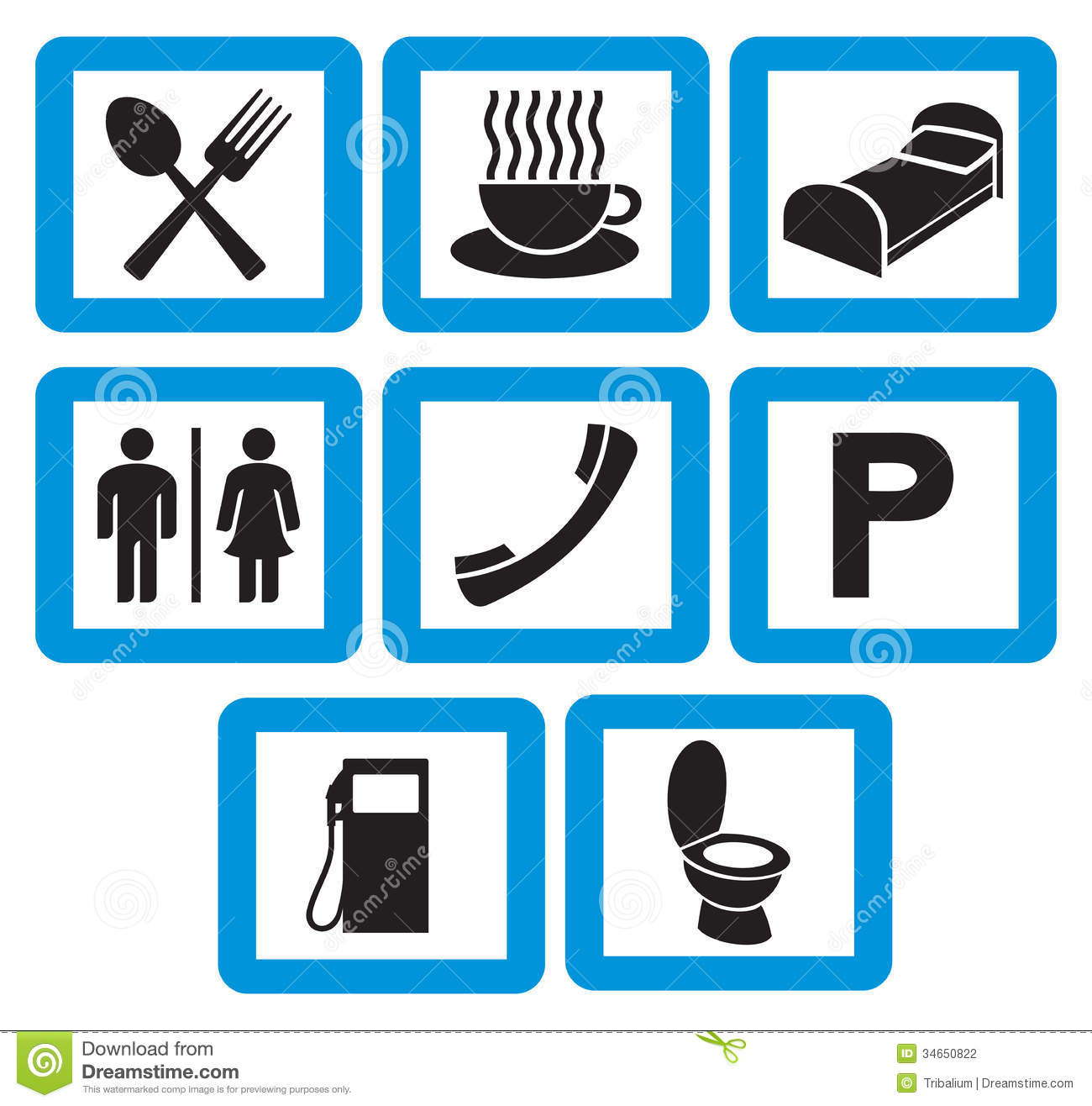 ... sign, toilet symbol, coffee cup icon, parking sign, restaurant sign