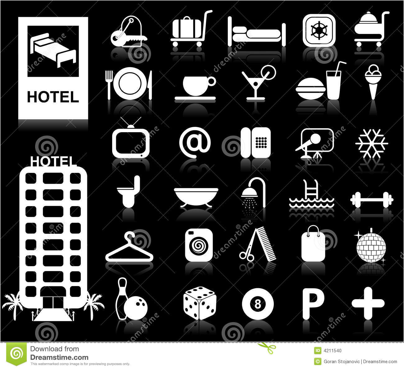 Hotel Icons set - Vector.