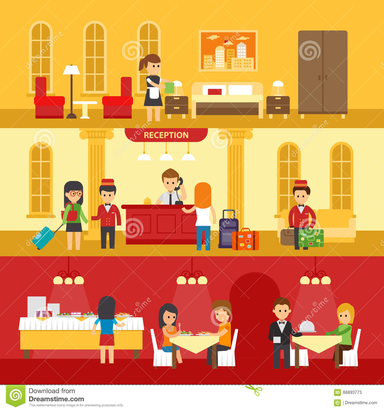 Reception cartoons illustrations vector stock images for Room design vector