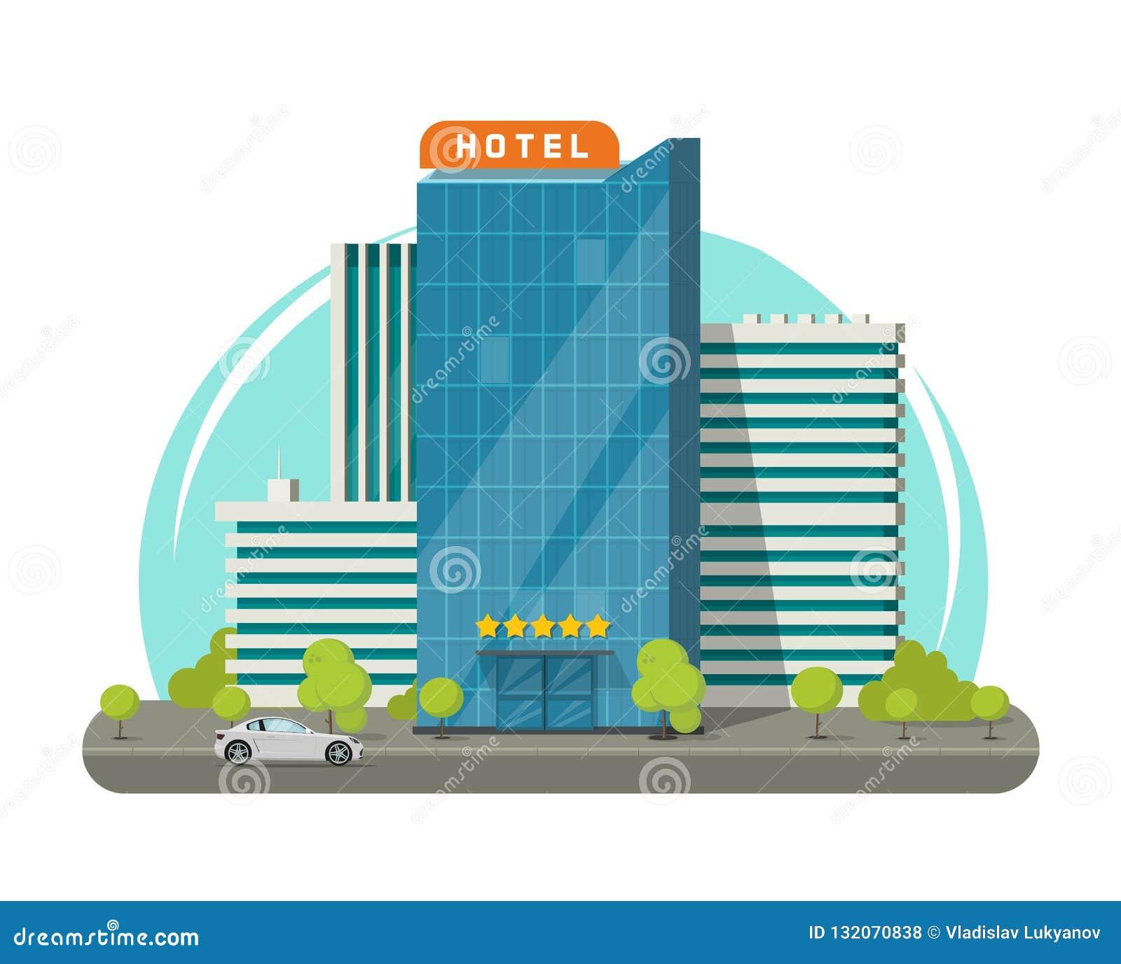 Hotel isolado na ilustração do vetor da rua da cidade, construção moderna lisa do hotel do arranha-céus perto da estrada