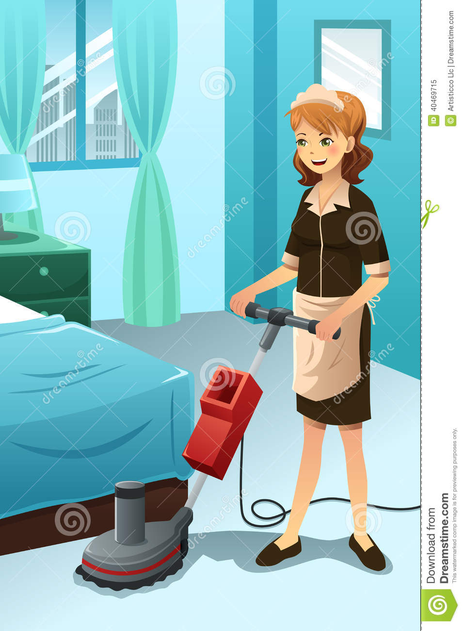 Room Clip Art: Hotel Janitor Cleaning The Hotel Room Stock Vector