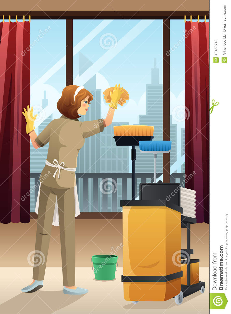 hotel janitor cleaning the hotel room stock vector