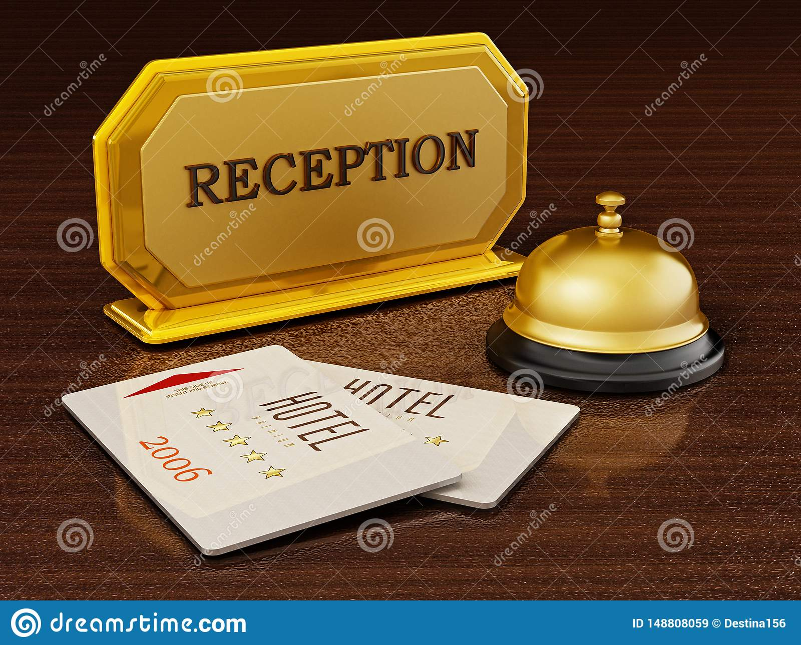 hotel key card bell and reception sign on hotel front