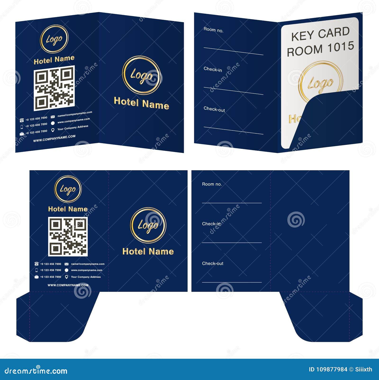 hotel key card holder folder package template stock vector