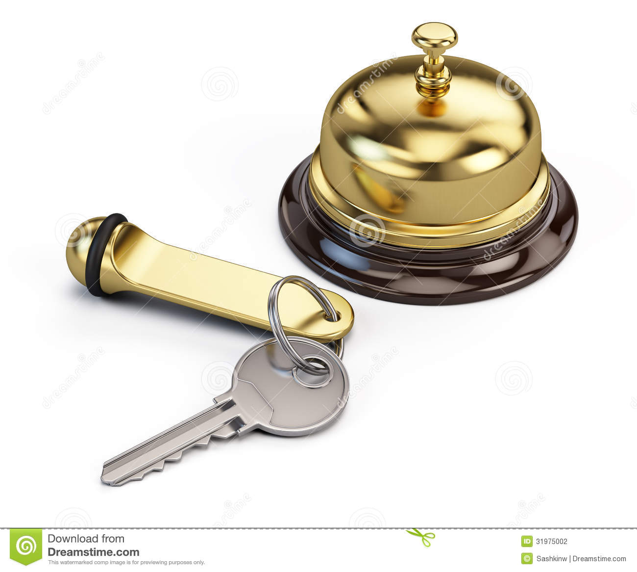 Hotel Key And Reception Bell Stock Photography Image