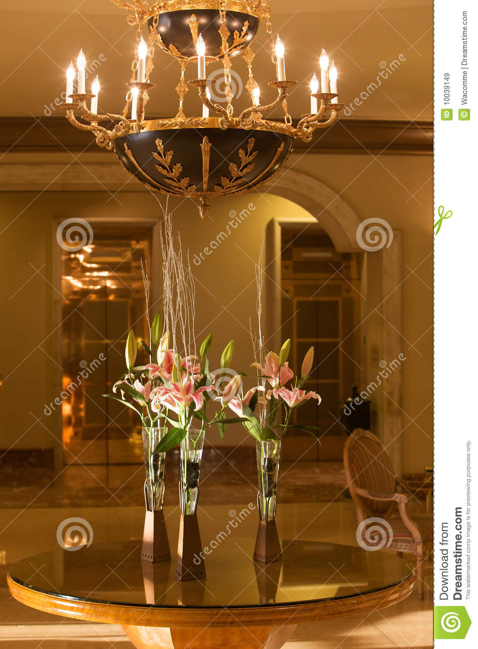 Hotel Foyer Flower Arrangements : Hotel lobby with chandelier and flowers stock image of