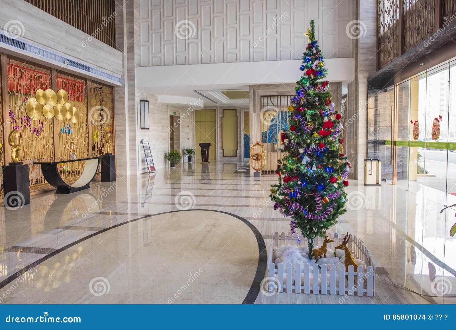 Hotel Lobby The Christmas Tree Editorial Stock Image Image Of