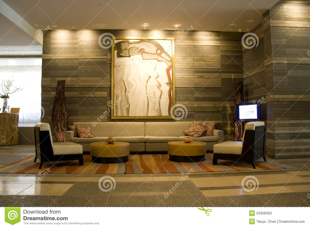 Hotel Lobby Of Four Seasons Seattle Editorial Photography ...