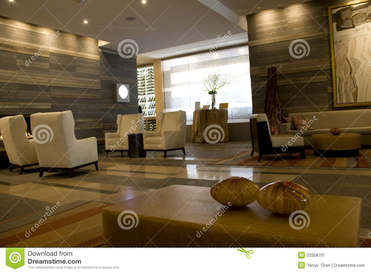 Hotel lobby of four seasons seattle editorial photo for Exquisite interior designs