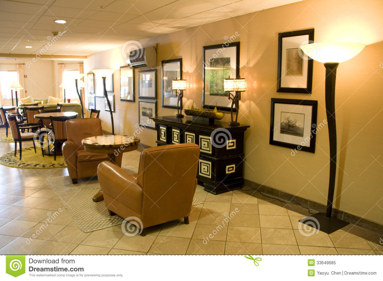 Hotel Lobby With Nice Interiors And Furniture. Phoenix Inn Vancouver Washington  State.