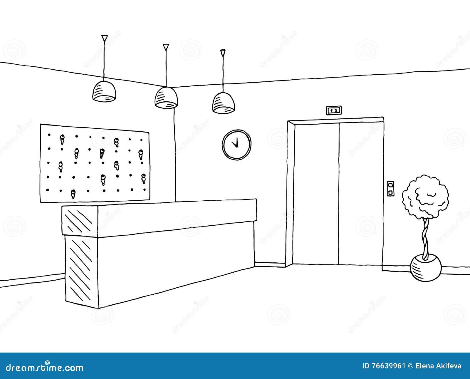 hotel lobby reception black white graphic art interior sketch