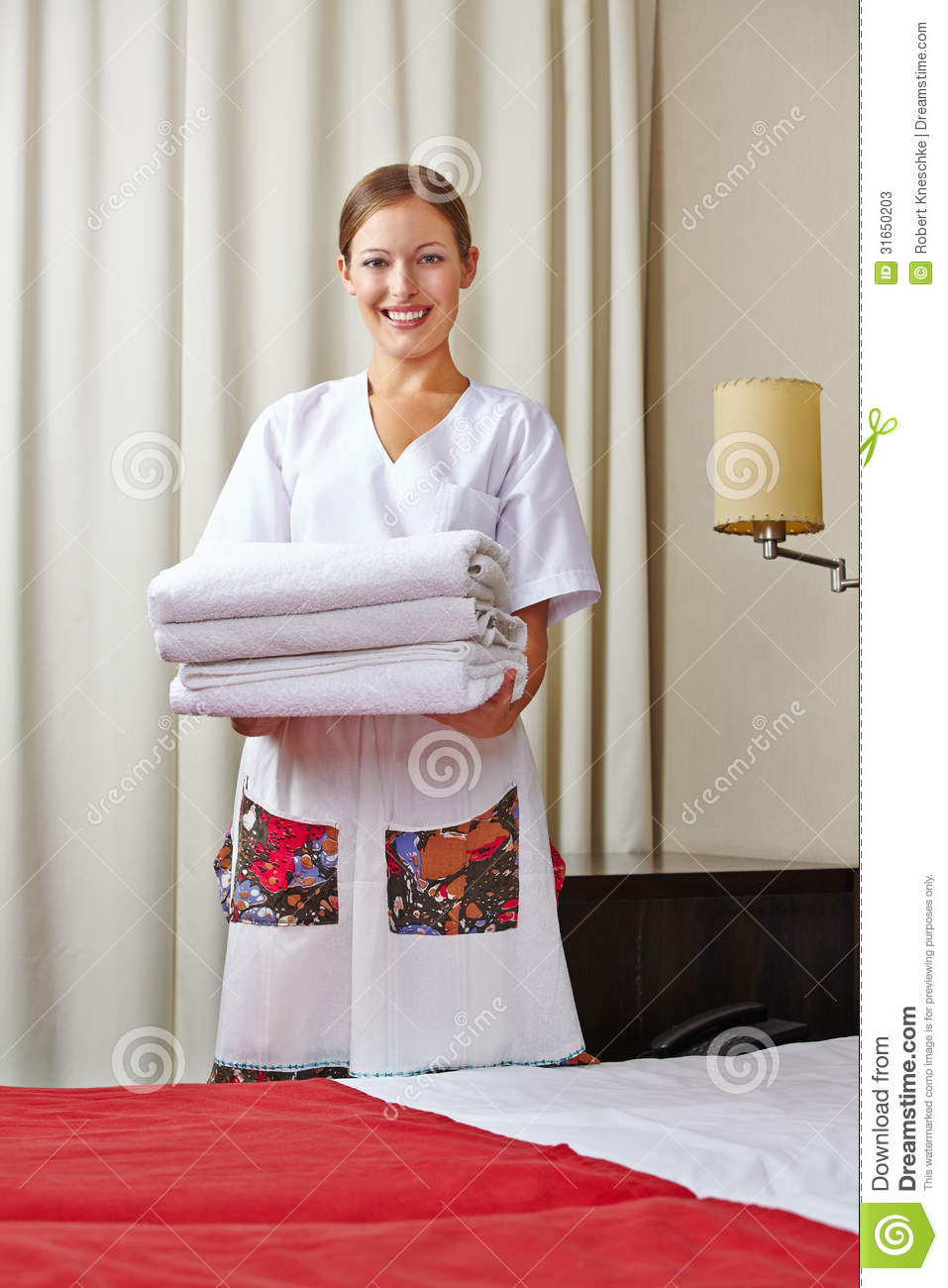Hotel Maid With Fresh Towels Stock Image Image 31650203