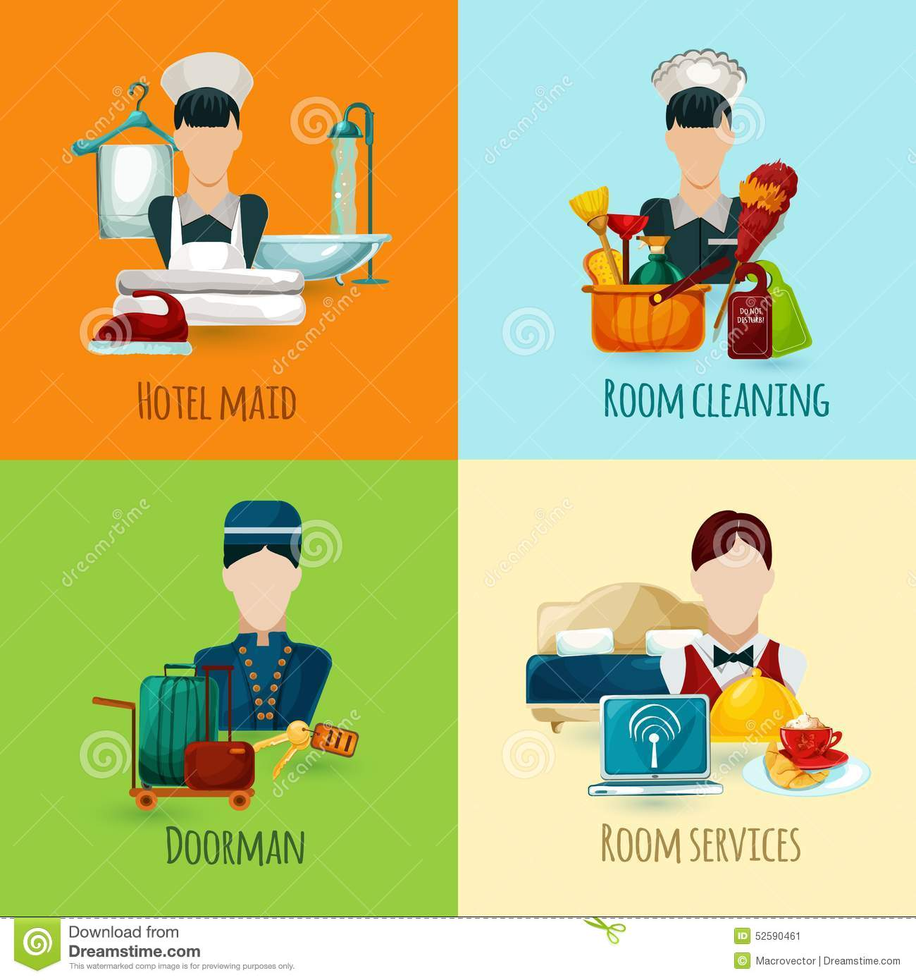 Hotel Housekeeping Services: Hotel Maid Set Stock Vector