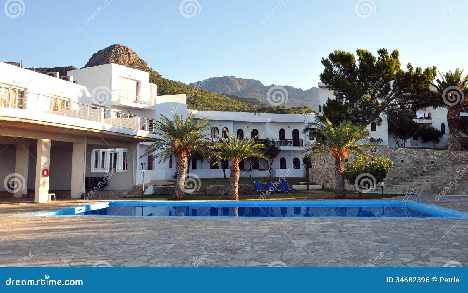 Hotel Mit Pool Auf Der Insel Von Kreta Griechenland Europa