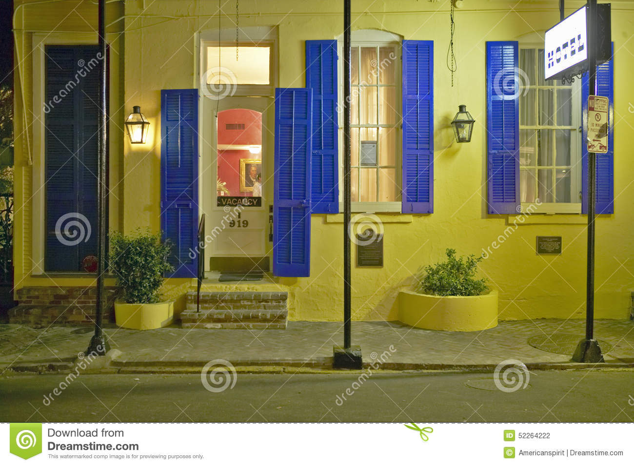 hotel at night in french quarter near bourbon street in. Black Bedroom Furniture Sets. Home Design Ideas