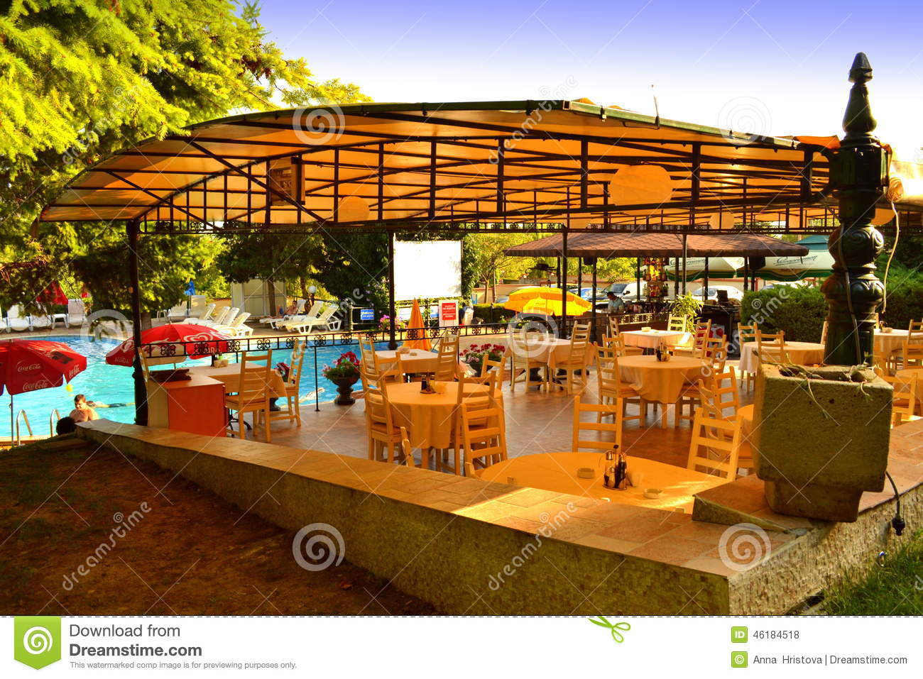 Hotel outdoor pool restaurant editorial stock photo for Pool garden restaurant