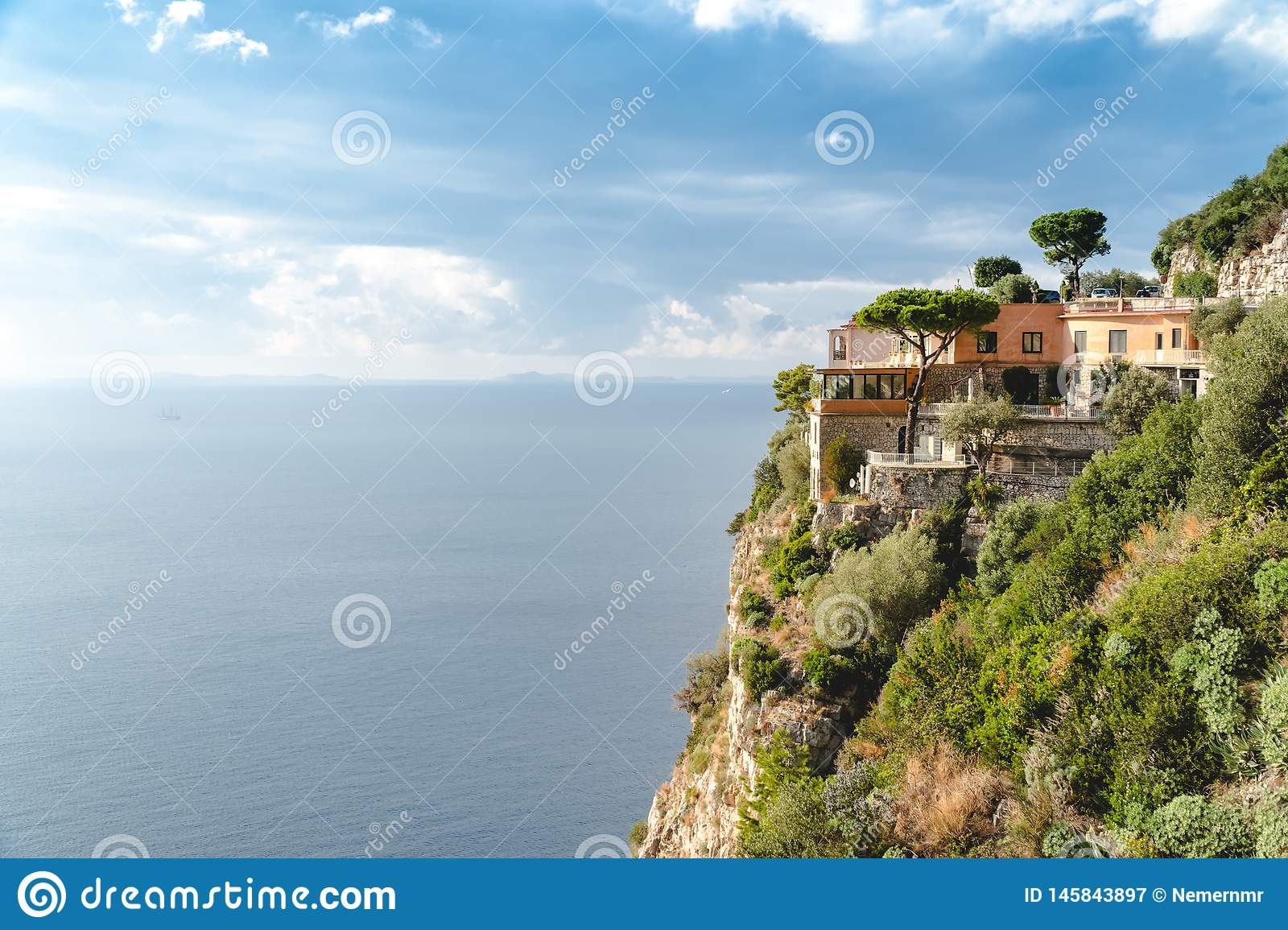 Hotel in Paradise, beautiful panoramic view on the rocky bay at sunny day, travel to Europe, vacation travel tour, mountains hotel