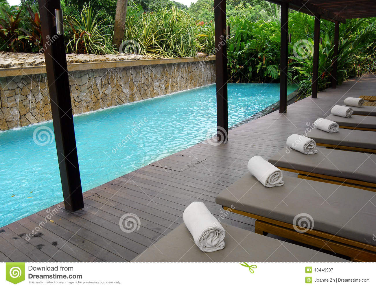 Hotel Pool With Natural Style Landscaping Stock Image