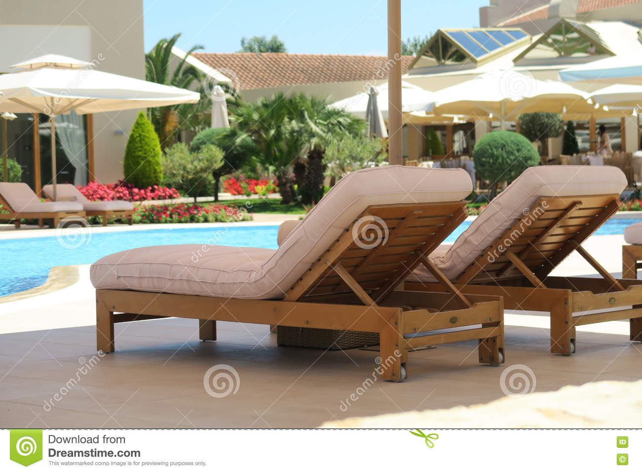 Wooden deck chairs - Royalty Free Stock Photo Download Hotel Pool Wooden Deck Chairs