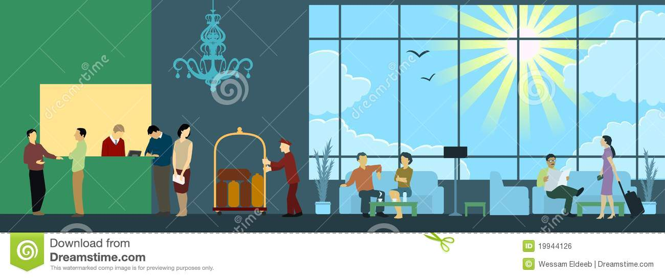 Hotel Reception Interior Scene Royalty Free Stock Image