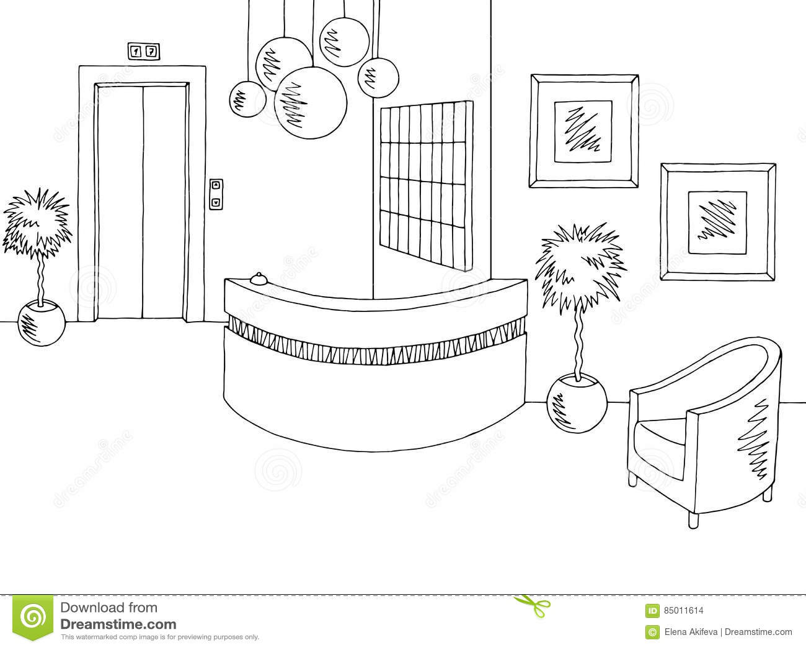hotel reception lobby interior graphic black white sketch