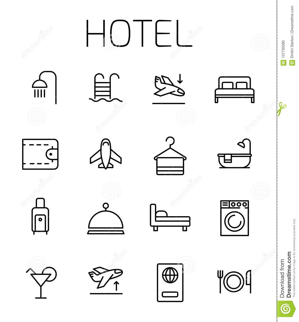 Hotel related vector icon set