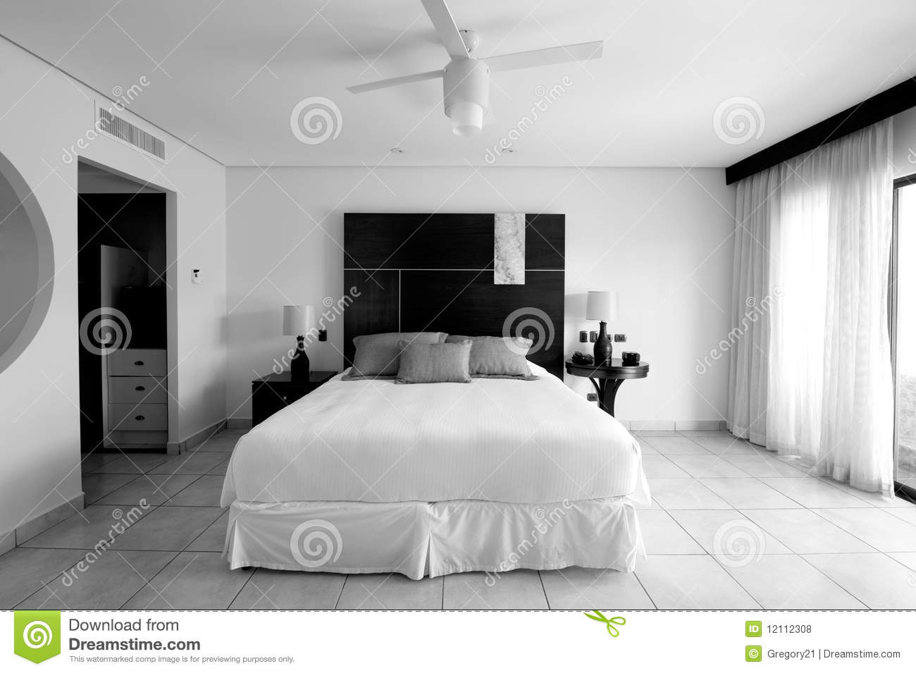Hotel resort bedroom suite in black and white royalty free for Black bedroom suite
