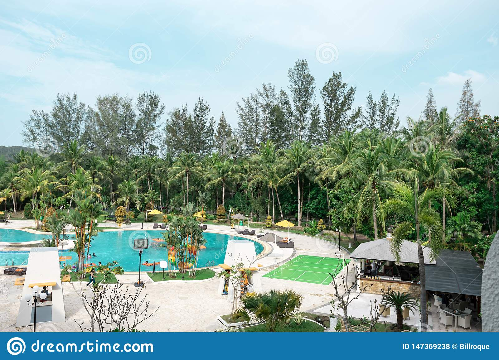 Hotel resort and swimming pool area in waterfront Batam, Indonesia, May 4, 2019