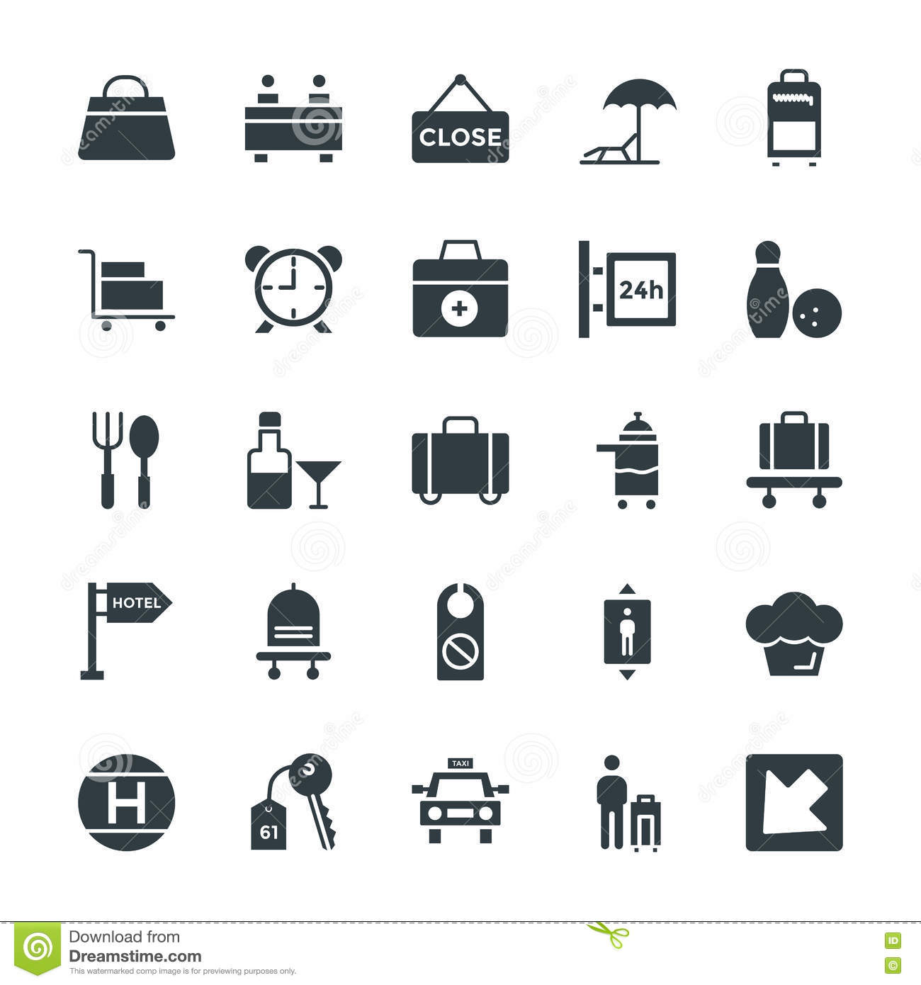 Hotel Restaurant Cool Vector Icons 4 Stock Illustration