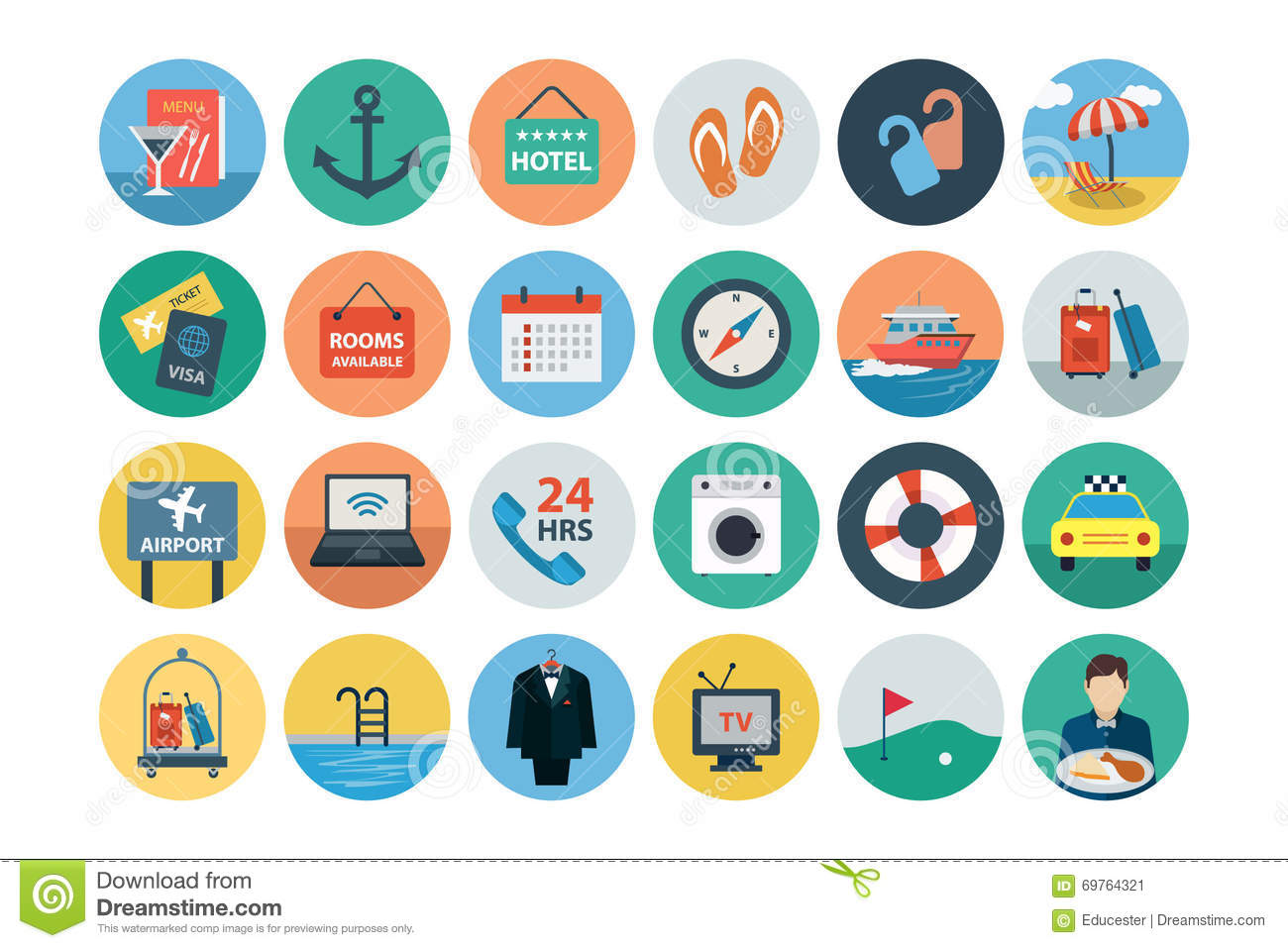 Hotel And Restaurant Flat Colored Icons 2
