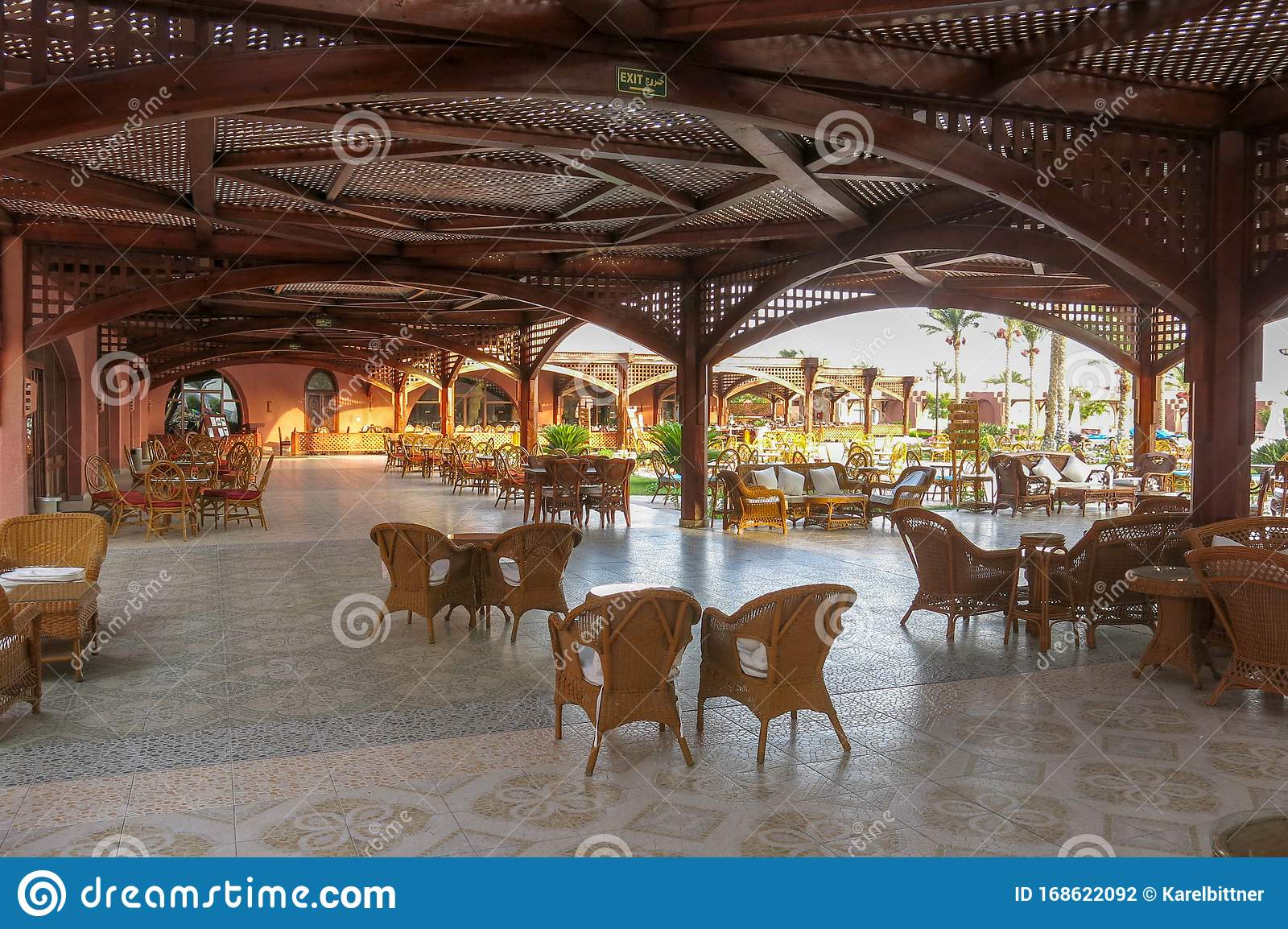 The Hotel Restaurant Is Made Of Wooden Beams And Planks Covered Outdoor Terrace With Seating And Decorative Wooden Fencing Stock Photo Image Of Leisure House 168622092