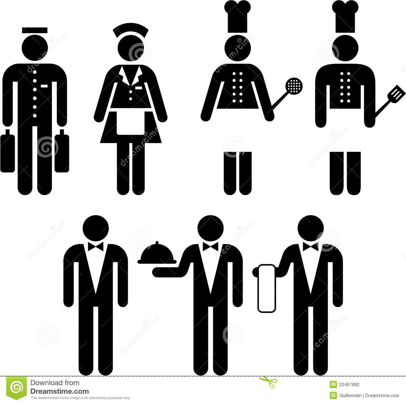 Kitchen Center Clip Art: Hotel And Restaurant Pictograms Stock Photography