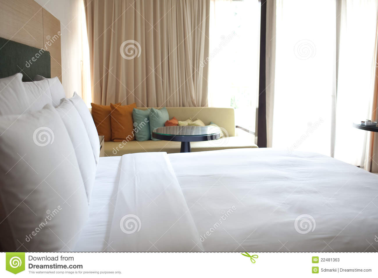 Hotel room bed and sofa stock photos image 22481363 for Sofa bed thailand