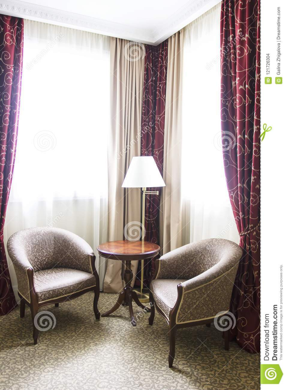 Hotel Room In Calm Colours, Sitting Area, Armchairs And ...