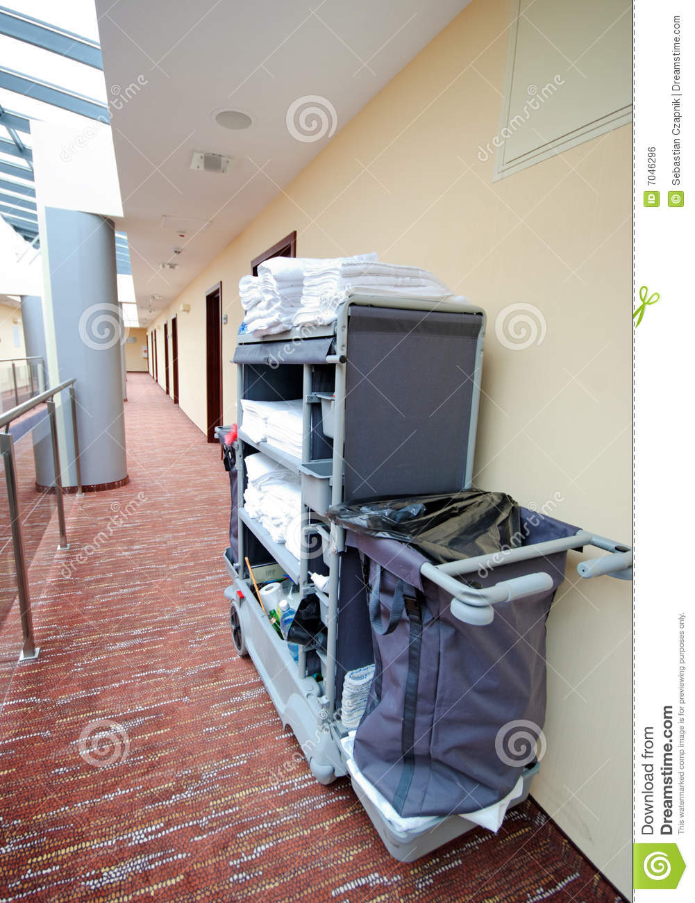 Hotel Room Cleaning Trolley Stock Photo Image Of Hotel