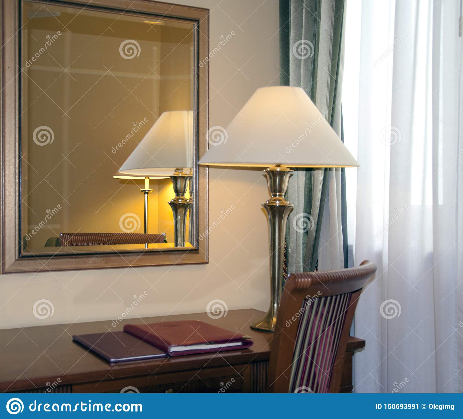 Hotel room with desk lamp