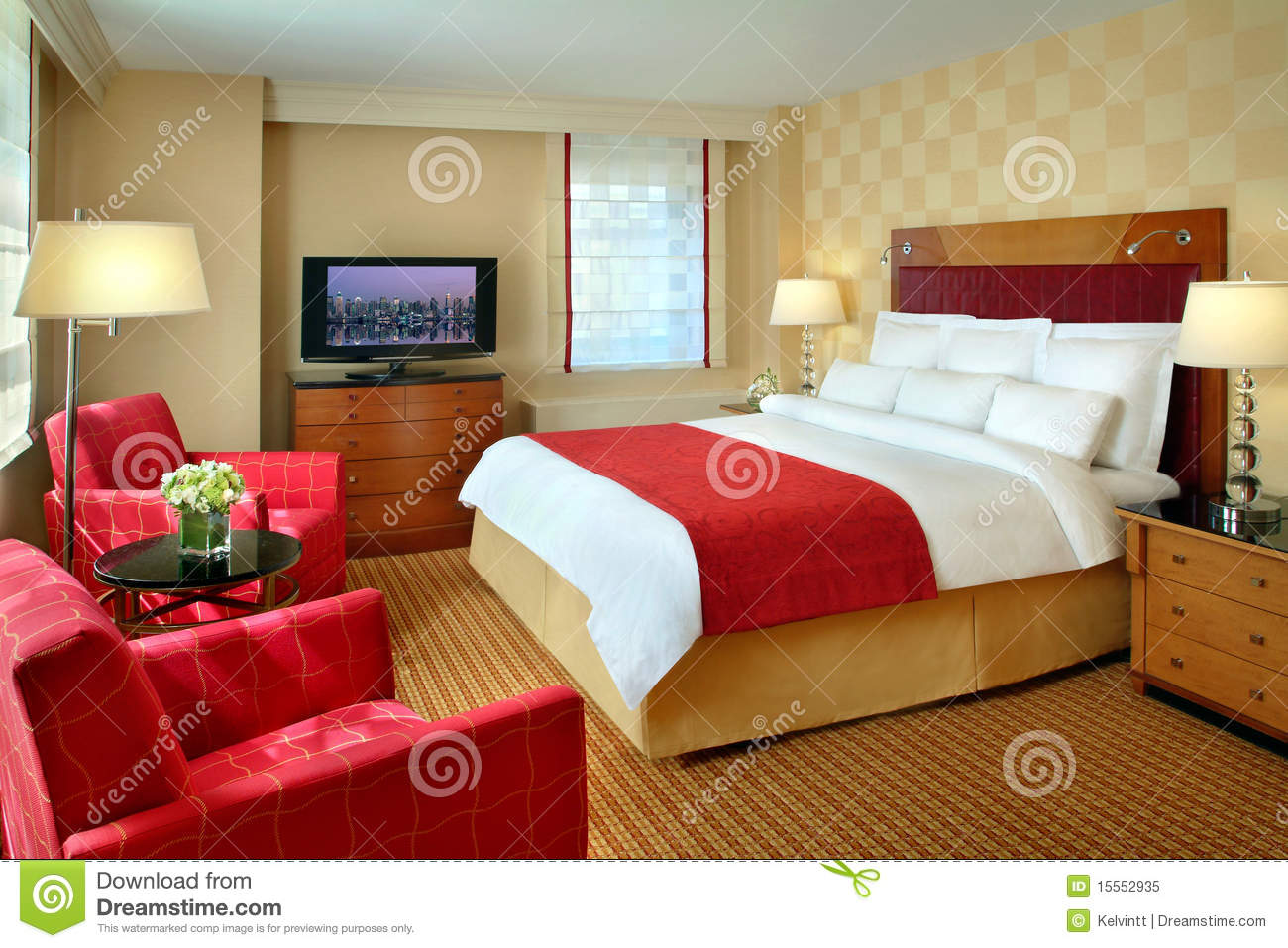 Hotel room interior stock image image of feng bedding for Hotel room interior