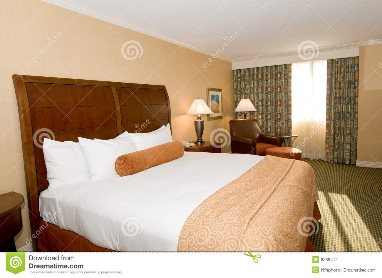 Hotel Room With Queen Bed Stock Photo Image Of Interior