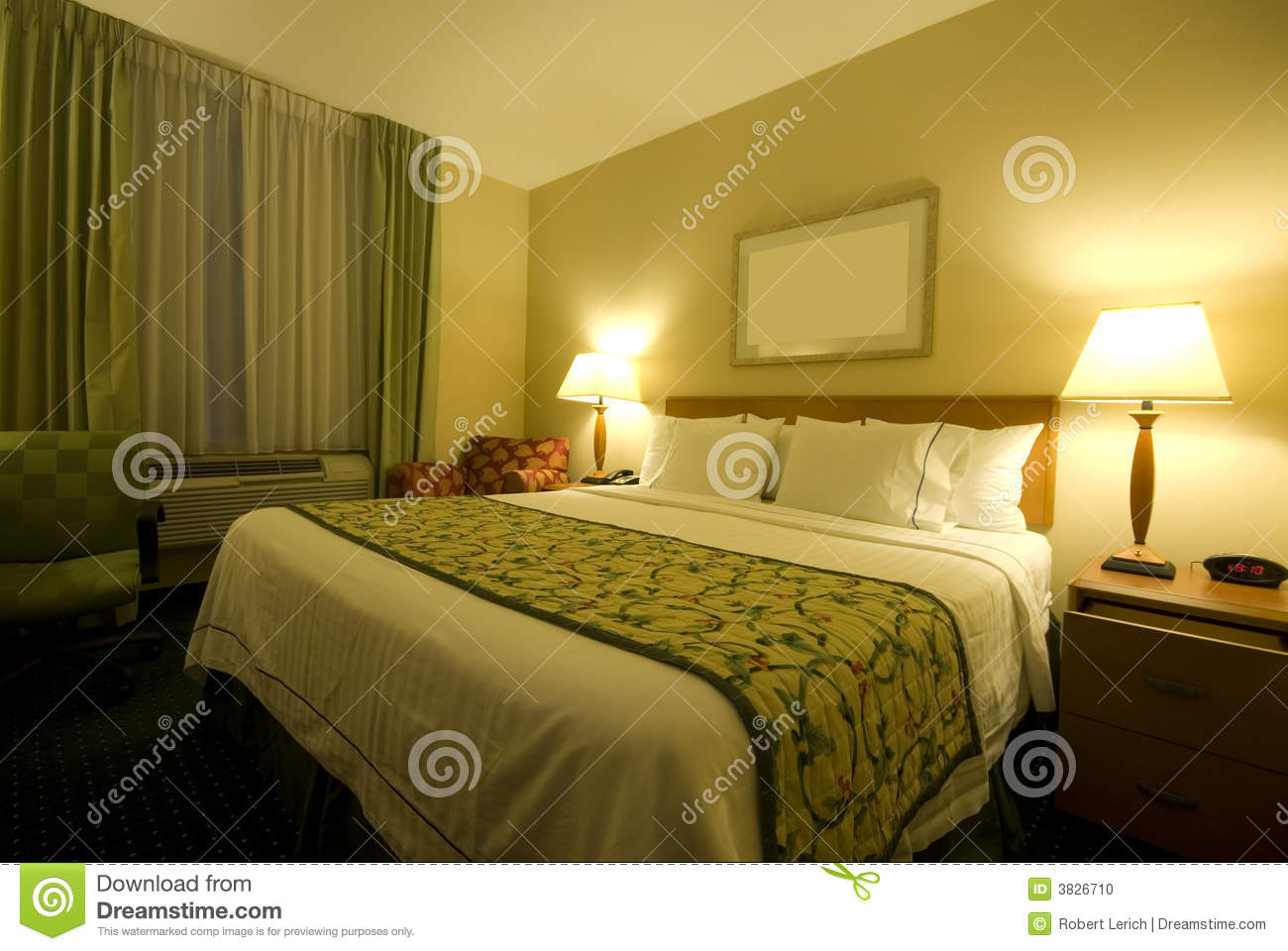 Hotel Room With Queen Size Bed Stock Photo Image 3826710